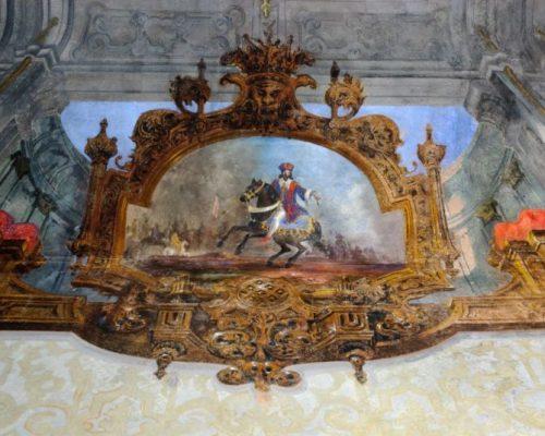 Particolare del medaglione Probabilmente Francesco I, nella battaglia di Marignano del 1515.